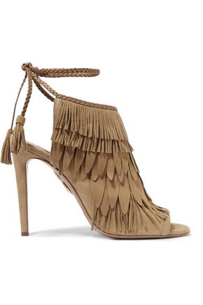 AQUAZZURA Fringed suede sandals