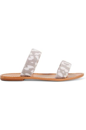 MASLIN & CO Sauvage printed terry and leather sandals