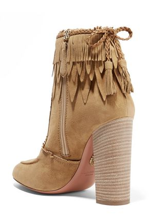 Tiger Lily Leather Trimmed Fringed Suede Ankle Boots Aquazzura