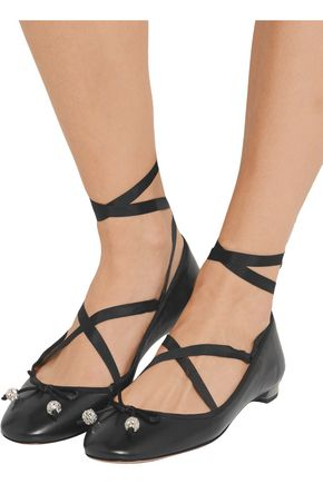 AQUAZZURA Very Ballerina lace-up leather flats