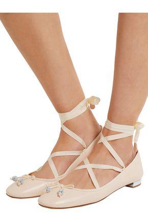 AQUAZZURA Very Ballerina lace-up leather flats