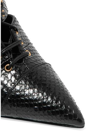 TOM FORD Lace-up python pumps