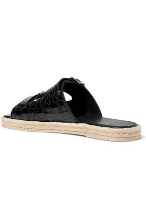 SAINT LAURENT Croc-effect leather espadrille slides