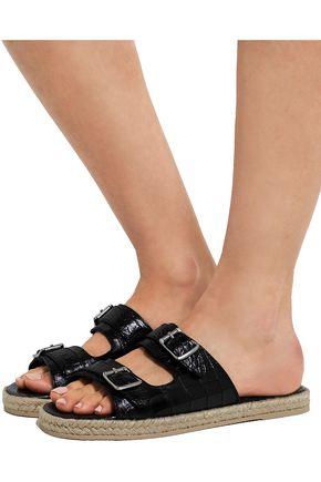 SAINT LAURENT Croc-effect leather espadrille slides