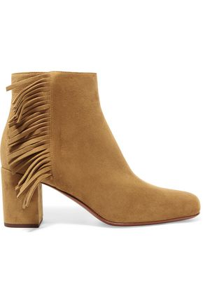SAINT LAURENT Babies fringed suede ankle boots