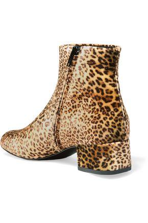 SAINT LAURENT Babies leopard-print velvet ankle boots