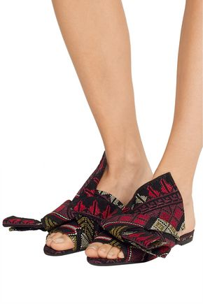 N° 21 Knotted embroidered suede sandals