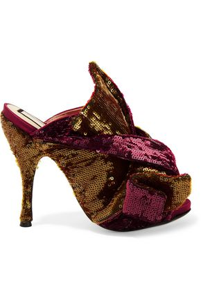 N° 21 Knotted sequined satin mules