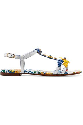 DOLCE & GABBANA Appliquéd printed textured-leather sandals