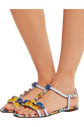 DOLCE & GABBANA Appliquéd printed textured-leather sandals
