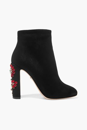 DOLCE & GABBANA Crystal-embellished suede ankle boots