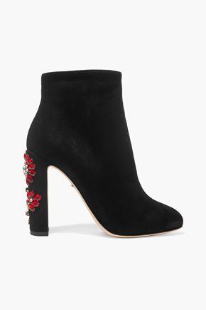 DOLCE & GABBANA Crystal-embellished suede ankle boots