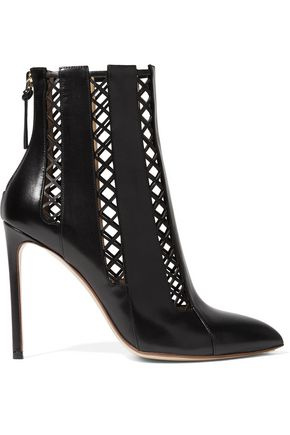 FRANCESCO RUSSO Lattice-paneled leather ankle boots