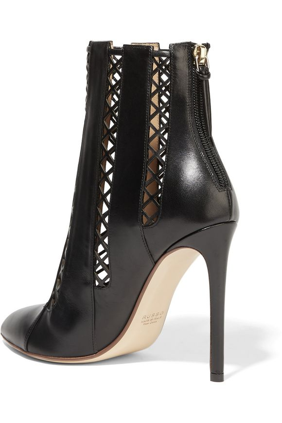 Lattice-paneled leather ankle boots | FRANCESCO RUSSO | Sale up to 70% off  | THE OUTNET