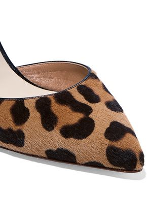 FRANCESCO RUSSO Leather-trimmed leopard-print calf hair pumps