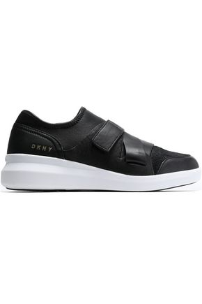 DKNY Calf hair-paneled leather sneakers