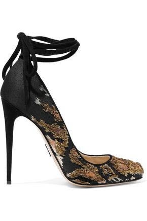 PAUL ANDREW Topkapi embellished satin and suede pumps