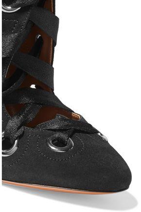 ALAÏA Eyelet-embellished lace-up ankle boots