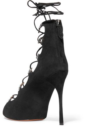 ALAÏA Lace-up suede sandals