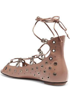 ALAÏA Laser-cut eyelet-embellished leather sandals