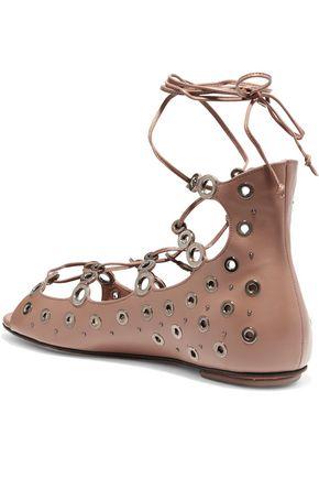 ALAÏA Lace-up eyelet-embellished leather sandals
