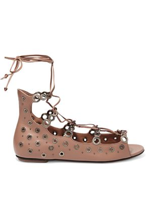 ALAÏA Lace-up eyelet-embellished leather sandals