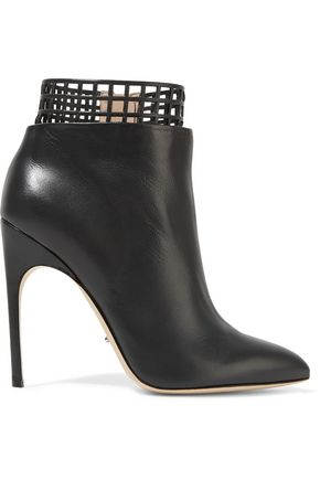 SERGIO ROSSI Laser-cut leather ankle boots