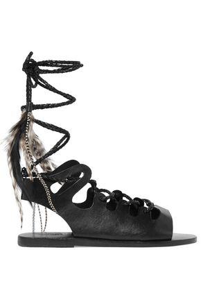 ANCIENT GREEK SANDALS Antigone lace-up croc-effect leather sandals