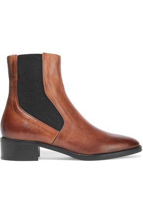 VINCE. Carrington burnished-leather Chelsea boots