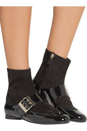 LANVIN Paneled patent-leather and suede boots