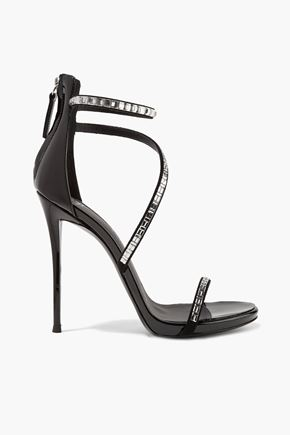 GIUSEPPE ZANOTTI DESIGN Calliope embellished suede and patent-leather sandals