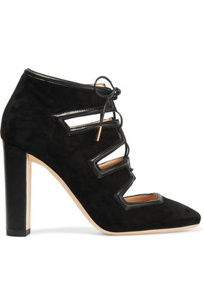 JIMMY CHOO Latch leather-trimmed suede pumps