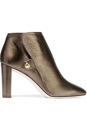 JIMMY CHOO Medal metallic textured-leather ankle boots