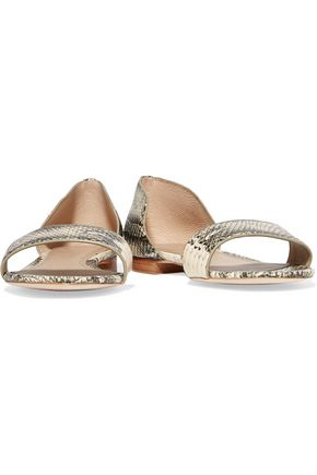 TORY BURCH Savannah snake-effect leather sandals
