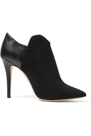 MALONE SOULIERS Frances snake and leather-paneled suede boots
