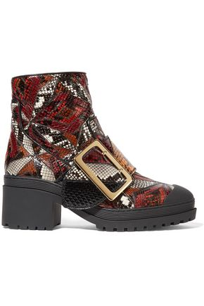 BURBERRY Patchwork python ankle boots