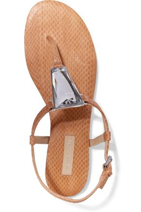 MICHAEL KORS COLLECTION Hanne crystal-embellished elaphe sandals