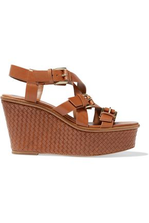 MICHAEL KORS COLLECTION Leather woven wedge sandals