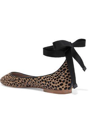 AERIN Leather-trimmed leopard-print calf hair ballet flats