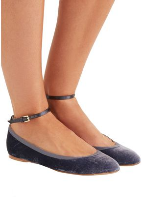 AERIN Leather-trimmed leopard-print calf hair ballet flats