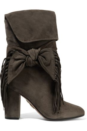 AQUAZZURA Bow-embellished fringed suede boots