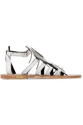 GOLDEN GOOSE DELUXE BRAND Fringed cracked-leather sandals