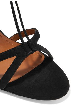 AQUAZZURA + Naty Abascal Mandala appliquéd suede sandals
