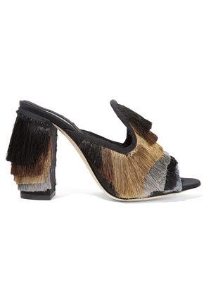 SANAYI 313 Cascata color-block fringed twill mules