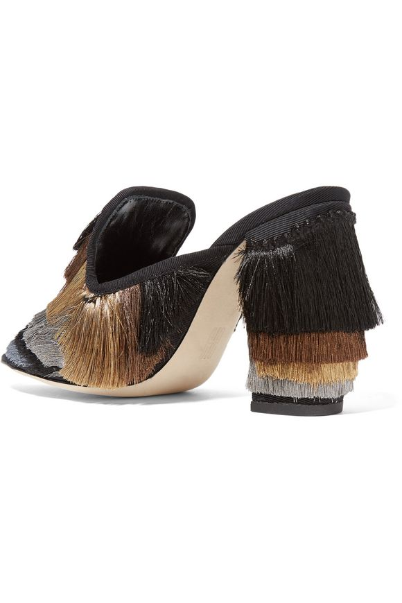 Cascata fringed twill mules   SANAYI 313   Sale up to 70% off   THE OUTNET