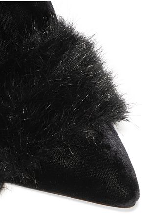 SANAYI 313 Signorina faux fur-trimmed velvet mules