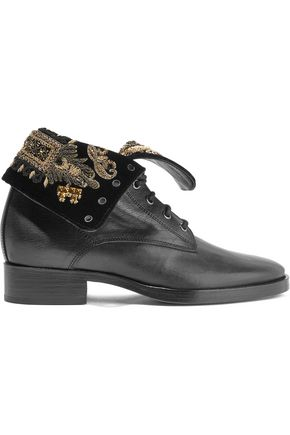 WOMAN EMBELLISHED VELVET AND LEATHER ANKLE BOOTS BLACK