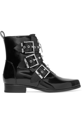 ALEXANDER MCQUEEN Studded glossed-leather ankle boots
