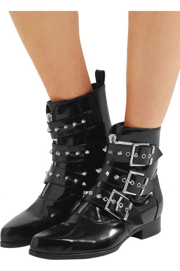 Studded glossed-leather ankle boots | ALEXANDER MCQUEEN | Sale up to 70% off  | THE OUTNET