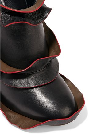 FENDI Ruffled leather ankle boots